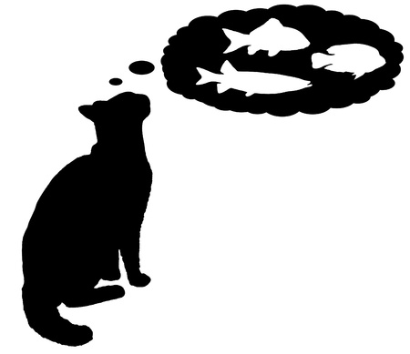 day dreaming: Black and white illustration of a cat day dreaming about fish
