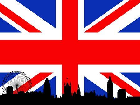 london cityscape: Silhouette of London skyline over a United Kingdom flag Stock Photo