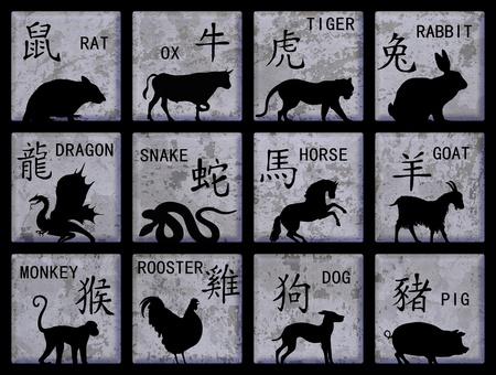 chinese pig: Doce botones cuadrados con animales del zodiaco chino y texto