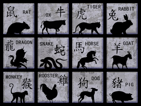 chinese astrology: Twelve square buttons with Chinese zodiac animals and text Stock Photo
