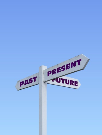 Signpost with past, present and future text, isolated on a blue gradient background photo
