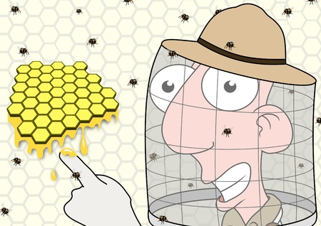 comic wasp: Illustration of a Beekeeper pointing at honeycomb Stock Photo