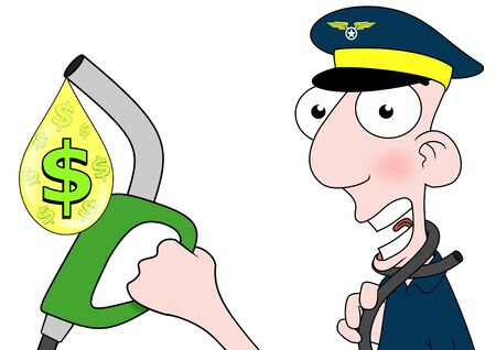 Illustration of a pilot holding a fuel pump that is choking him Stock Illustration - 9801608