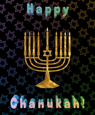 candelabrum: Illustration of a menorah with Happy Chanukah text