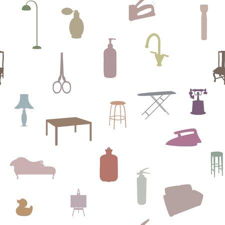 objetos de la casa: Color de fondo transparente que contiene pastel objetos del hogar