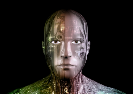 Illustration of an Android head against a black background Stock Illustration - 10309331
