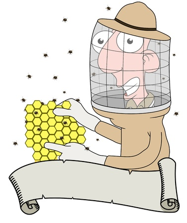 Cartoon illustration of a Bee keeper behind a scroll illustration