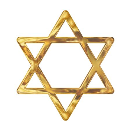 jewish star: Golden star of David isolated on white Stock Photo