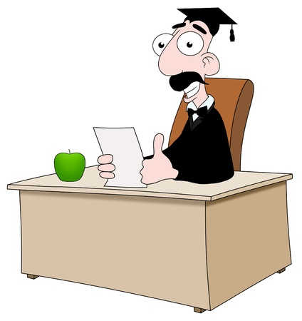 passed test: Illustrated cartoon teacher sitting behind a desk Stock Photo