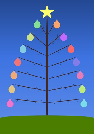 Illustration of a Christmas tree with colored baubles illustration