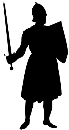 Illustrated silhouette of a medieval knight isolated on white photo