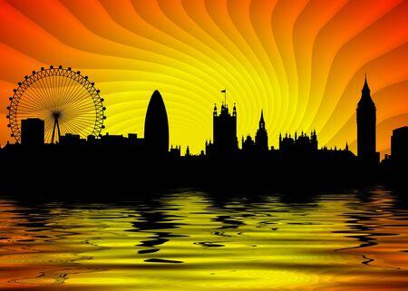 Illustratie van de skyline van Londen met water op de voorgrond