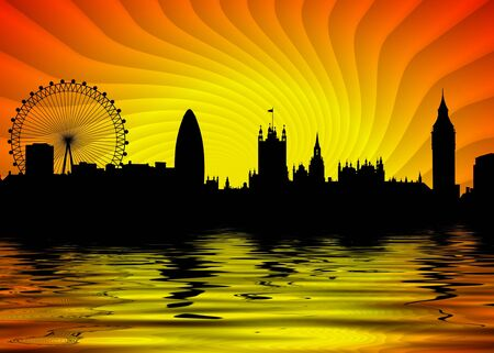 london eye: Illustration of London skyline with water in the foreground