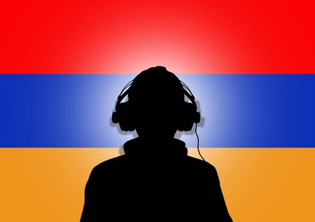 armenia: Illustration of a person wearing headphones in-front of the flag of Armenia