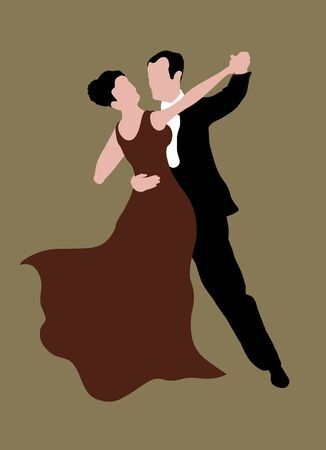 Illustrated couple dancing photo
