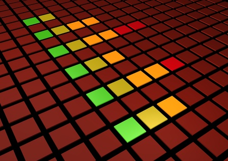 cgi: Colorful perspective view of a Graphic Equalizer display