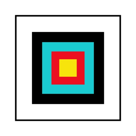 Illustrated square red blue yellow black and white shooting target photo