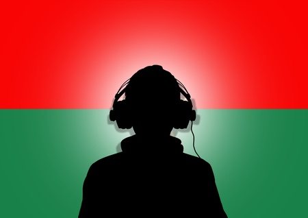 burkina faso: Illustration of a person wearing headphones in-front of the flag of Burkina Faso