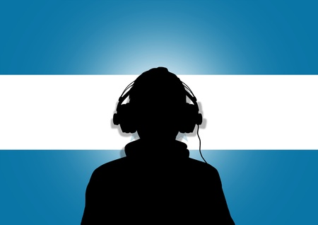 interpret: Illustration of a person wearing headphones in-front of the flag of Honduras