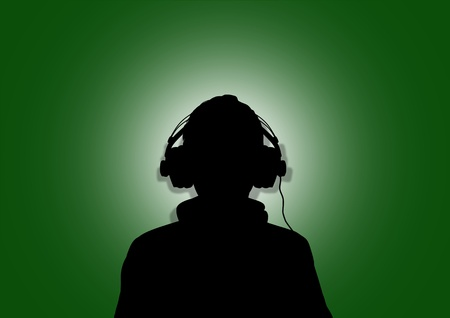 learning language: Illustration of a person wearing headphones in-front of the flag of Libya