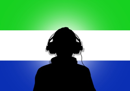 interpret: Illustration of a person wearing headphones in-front of the flag of Sierra Leone Stock Photo