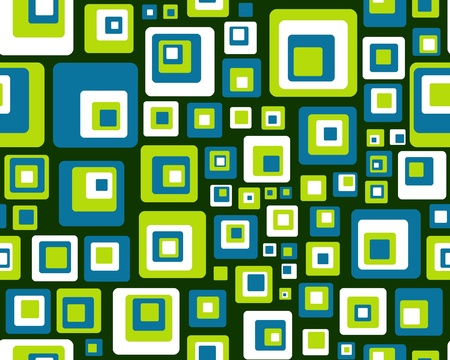 blue green background: Abstract illustration of seamless blue green and white squares