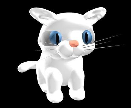 cgi: 3d illustration of a white cat