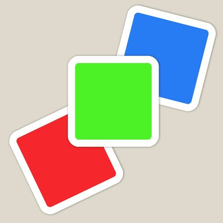 primary colors: Red green and blue squares