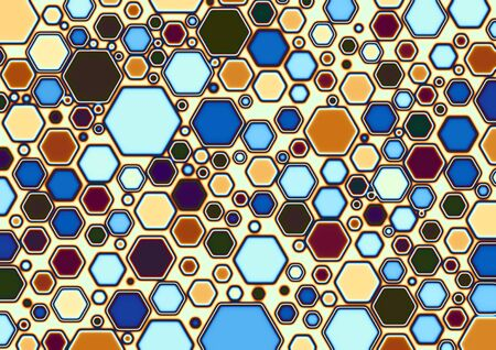 multi coloured: Multi colored hexagonal shapes Stock Photo