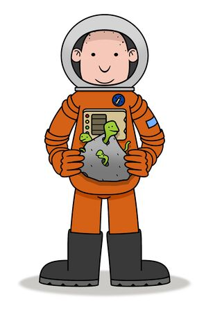 lifeform: Illustration of an Astronaut holding a rock sample with aliens  Stock Photo