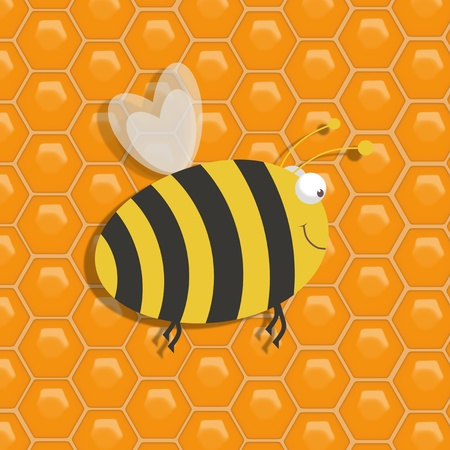 bumble: Illustration of a large honeybee over a honeycomb background