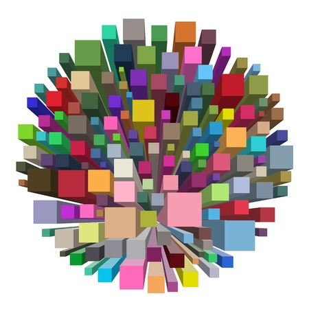 color swatches: Illustration of an isolated round shape made of smaller square shapes