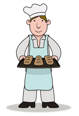 Illustration of a Chef holding baked goods illustration