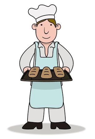 Illustration of a Chef holding baked goods illustration
