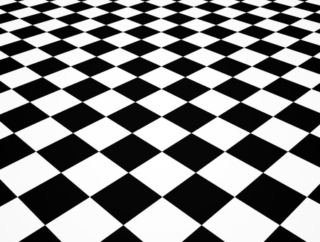 cheques: Illustration of a black and white perspective chequered floor