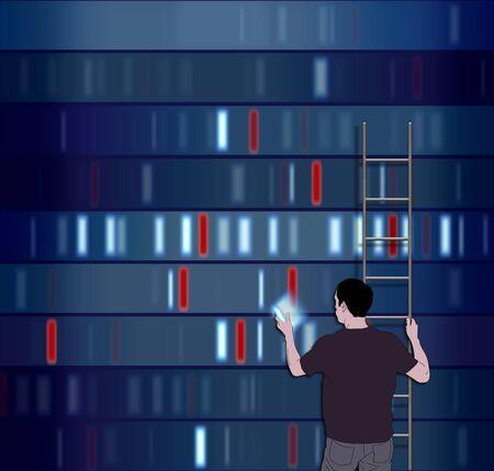 cromosoma: Ilustración de un hombre eligiendo un segmento de DNA