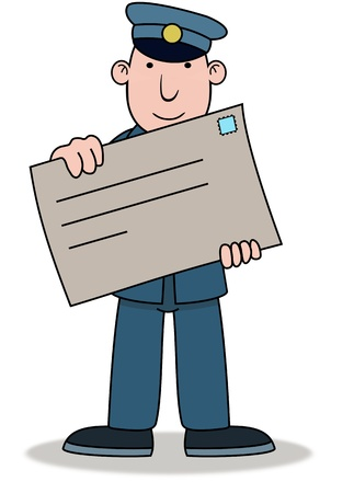posting: Illustration of a Postman holding a large envelope