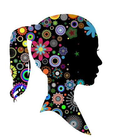 Illustrated side view of a girls head with patterns Stock Photo - 12084285