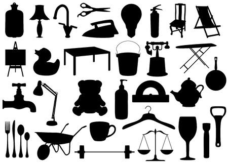 objetos de la casa: Siluetas de los objetos ilustrados de muchos hogares Foto de archivo