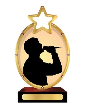 persona cantando: Ilustraci�n de un trofeo aislado con una silueta de una persona que canta