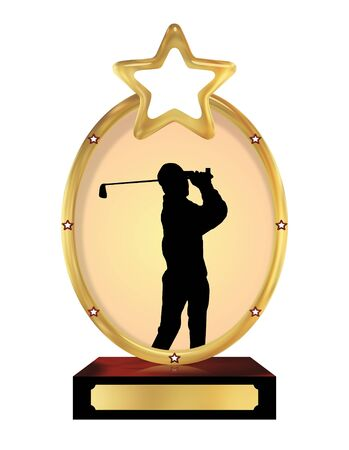 champ: Illustration of an isolated trophy with a silhouette of a person playing golf