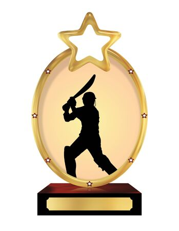 champ: Illustration of an isolated trophy with a silhouette of a person playing cricket