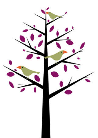 perching: Illustration of a cartoon tree with birds