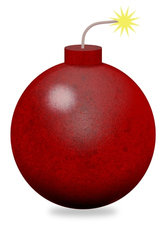 Isolated illustration of a cartoon bomb with lit fuse illustration