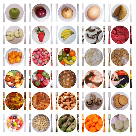 30 various isolated food icons Stock Photo - 12322699