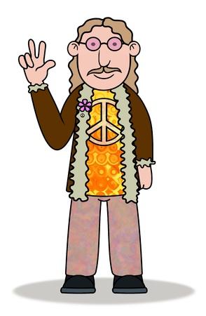 figli dei fiori: Illustrazione di un uomo Hippie fumetto Archivio Fotografico