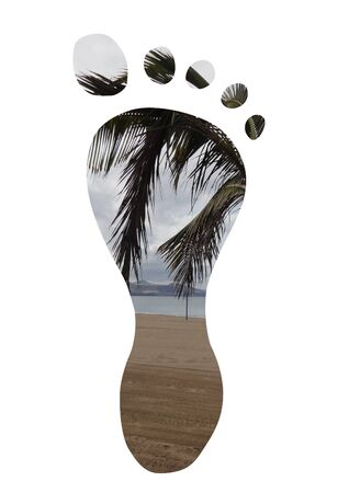 footprints in sand: Isolated foot with a palm tree and beach as the texture Stock Photo