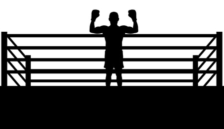 boxing ring: Illustrated silhouette of a boxer champion