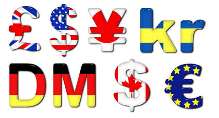 sweden flag: Illustration of many Currencies with flag textures Stock Photo