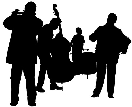 accord�on: Illustration de silhouettes Musicien Banque d'images